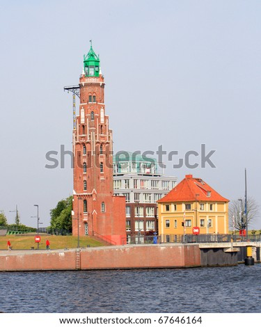 Old Brick Lighthouse in Bremerhaven, Germany - stock photo