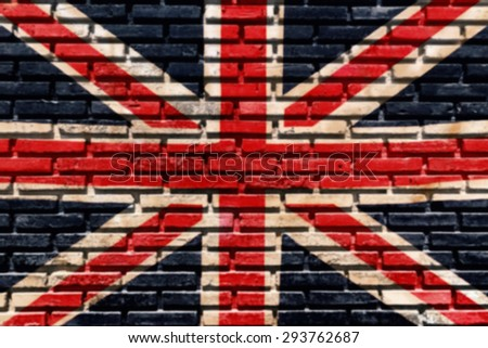 Old brick wall paint color copy British flag for blurred background and blurred black drop. - stock photo