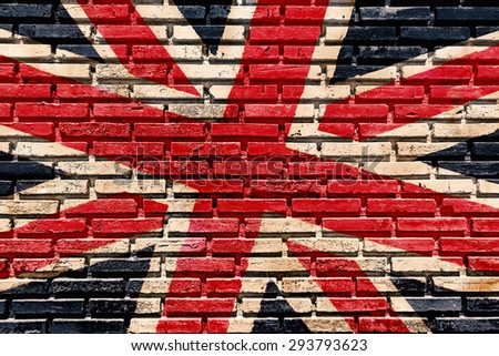 Old brick wall paint color copy British flag for texture background and backdrop. - stock photo