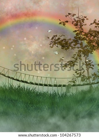 old bridge in a fantasy landscape with tree and rainbow - stock photo