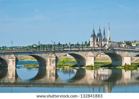 Old Bridge in Blois, valley of Loire, France - stock photo