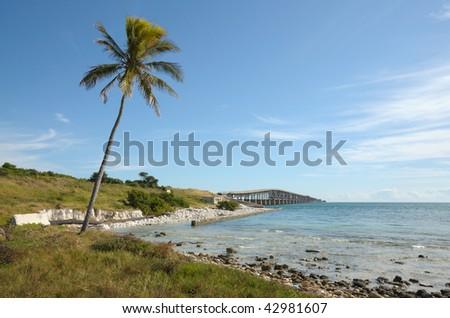 Old Bridge of the Interstate at Florida Keys, USA - stock photo