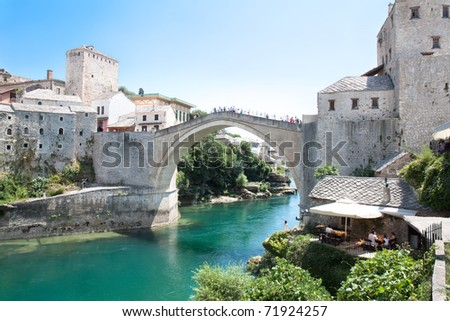 Old bridge on river Neretva - Mostar, Bosnia and Herzegovina - stock photo
