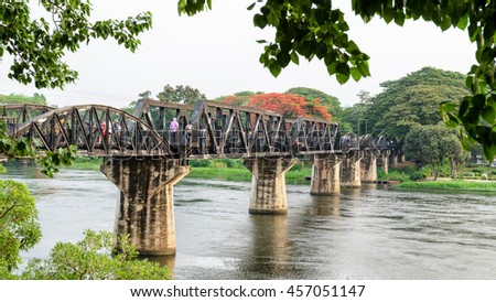 Old bridge over the River Kwai Yai is a historical attractions during World War 2 the famous of Kanchanaburi Province in Thailand,16:9 wide screen - stock photo