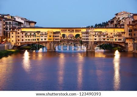 Old bridge (ponte vecchio) Florence, Italy at night - stock photo