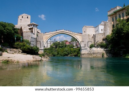 Old Bridge (Stari Most) of Mostar, Bosnia and Herzegovina. - stock photo