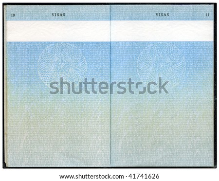 Old British Passport, page for visa marks - stock photo
