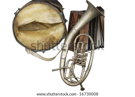 old broken music instruments isolated - stock photo
