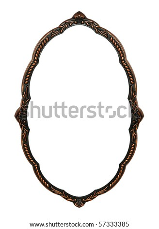 Old bronze frame for a mirror is isolated on a white background - stock photo