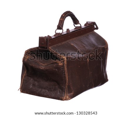 old brown bag - stock photo