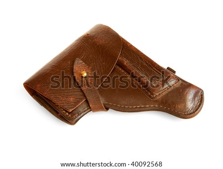 old brown leather holster isolated on white - stock photo