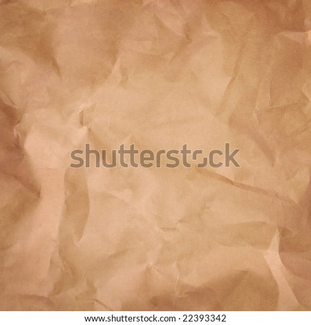 old brown paper background. rumple surface of material - stock photo