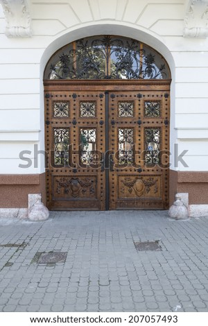 Old brown wood door ornated with black iron  - stock photo