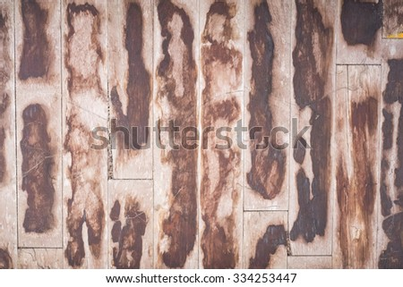 Old Brown Wood Parquet Floor. - stock photo