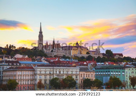 Old Budapest with St. Matthias church at night - stock photo