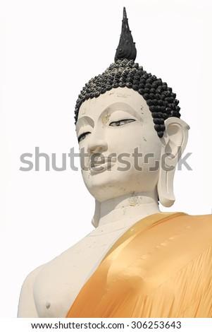 Old Buddha image on white backgronud - stock photo