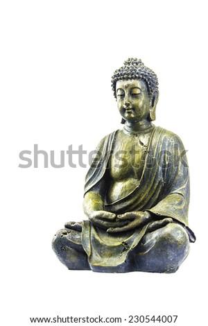 Old buddha on white background - stock photo