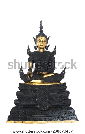 Old buddha statue buddhism thai isolated thailand wisdom meditating praying natural sculpture oriental white calm statue peace culture glossy bright worship head venerable buddhist  people bangkok - stock photo