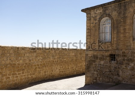 old building and old street - stock photo