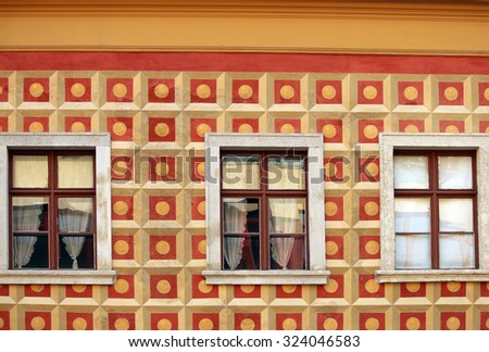 old building wall detail Budapest - stock photo