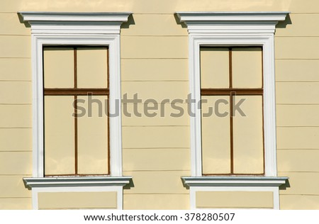 Old building windows architecture detail - stock photo
