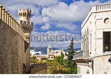 Old buildings in Palma de Majorca,Spain, balearic islands - stock photo
