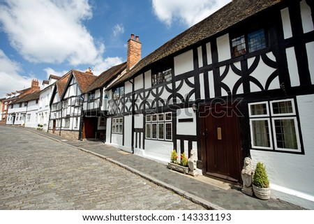 Old buildings in Warwick - stock photo