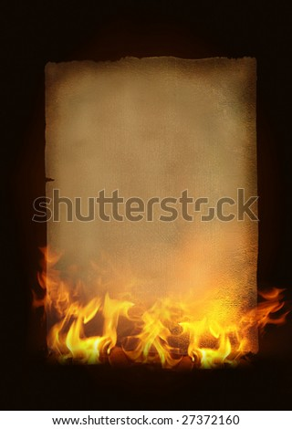 Old burning paper - stock photo