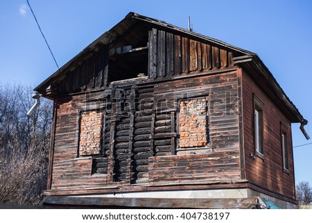 old burnt house - stock photo