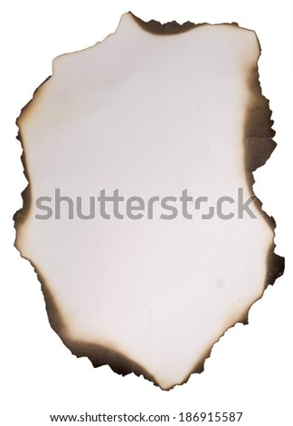 old burnt paper on a white background - stock photo