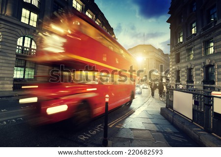 old bus on street of London - stock photo