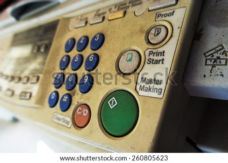 Old Business Copier and Fax with softlight . - stock photo