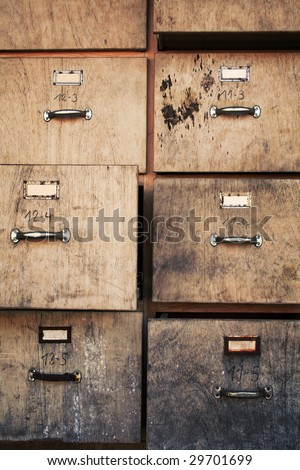 old business office used filing cabinet - stock photo