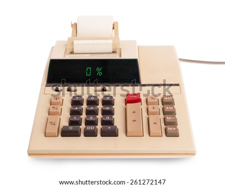 Old calculator with digital display showing a percentage - 0 percent - stock photo