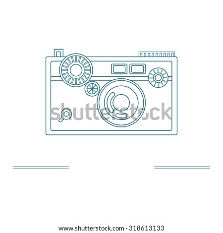 Old camera - branding identity element, isolated on white background. Logo design concept. Isolated high quality graphic design illustration with place for your text. Raster version. - stock photo