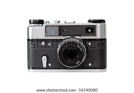Old camera isolated on the white background. - stock photo