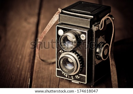 old camera retouching Vintage - stock photo