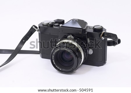 Old Camera with Strap - stock photo