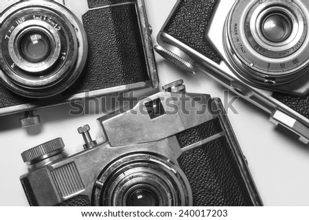 Old cameras, composition - stock photo