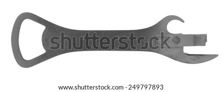 Old Can Opener isolated on white background. Clipping path included. - stock photo