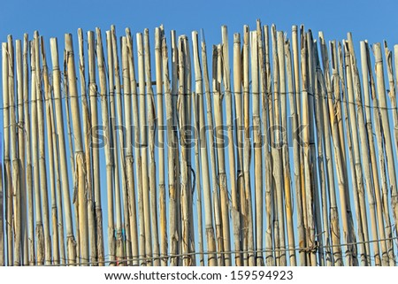 Old cane fence texture over blue sky - stock photo