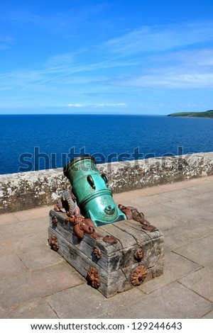 Old cannon at Culzean Castle - stock photo