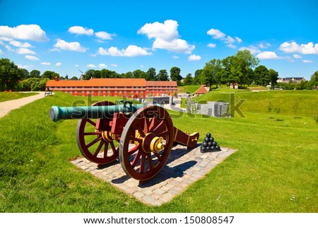 Old cannon in Copenhagen, Denmark - stock photo