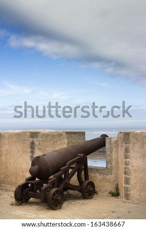 old cannon in the moroccan rock  - stock photo