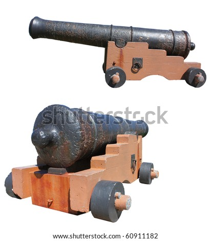 Old cannon isolated against white. - stock photo