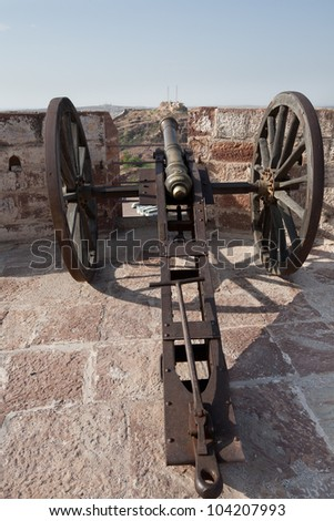 Old cannon on Mehrangarh Fort,Jodhpur (blue city) - stock photo