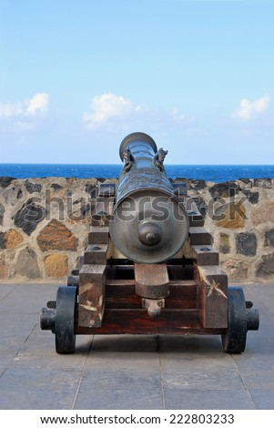 Old Cannon used for coastal defense. Made on iron and wood - stock photo