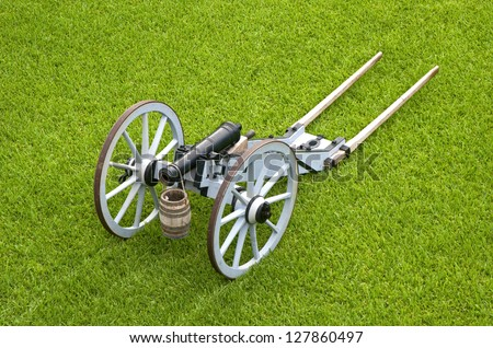 Old canon on wheels in exhibition in the center of an old fort, Castillo de San Marcos, St. Augustine, Florida. 16th century - stock photo