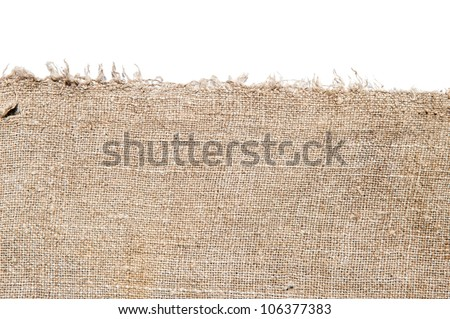 old canvas edge fabric texture for old fashioned background - stock photo
