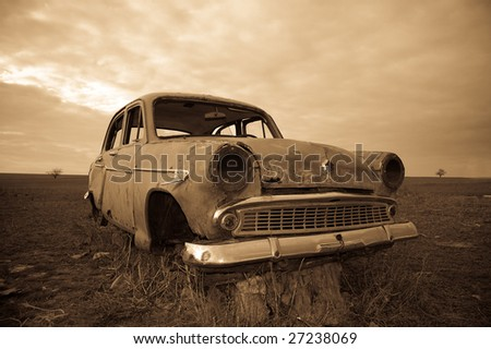 Old car at field 2 3 - stock photo